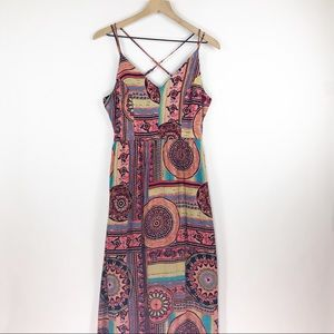 LuLu's mixed print multi color maxi dress small
